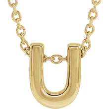 Load image into Gallery viewer, 14k Yellow Gold Initial Charm Slide with chain