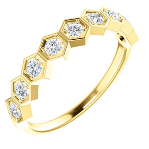 14K Gold 1/3 CTW Diamond Honeycomb Geometric Stackable Ring