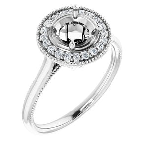 1 CARAT MOUNTING : Halo Engagement Ring  with Milgrain Edges