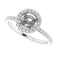 Load image into Gallery viewer, 1 CARAT MOUNTING : 1/3 Carat Halo Engagement Ring, with diamond under gallery