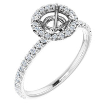 Load image into Gallery viewer, 1/3 Carat Halo Engagement Ring Mounting, with diamond under gallery