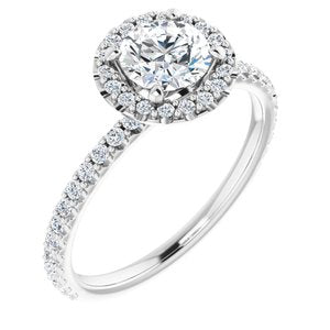 1 CARAT MOUNTING : 1/3 Carat Halo Engagement Ring, with diamond under gallery
