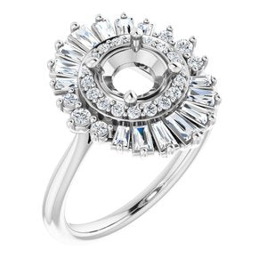 MOUNTING:  for 1/2  Carat Round Diamond Center Engagement Ring with Moroccan Diamond Halo