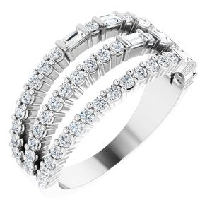 14K White 7/8 CTW Diamond Stacked Ring