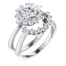 Load image into Gallery viewer, MOUNTING : 3/8 carat Diamond Cluster Halo Engagement Ring Mounting