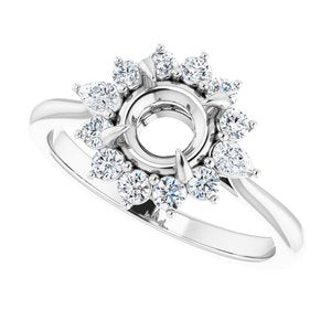 MOUNTING : 3/8 carat Diamond Cluster Halo Engagement Ring Mounting