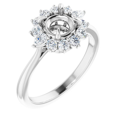 1 CARAT MOUNTING : 3/8 carat Diamond Cluster Halo Engagement Ring Mounting