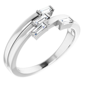 Beautiful 14k White Gold Geometric Ring , this ring has 4 diamond with a total 1/4 carat in Baguette Diamonds measuring 3.75 x 1.50 mm