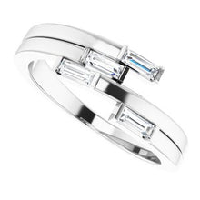Load image into Gallery viewer, Beautiful 14k White Gold Geometric Ring , this ring has 4 diamond with a total 1/4 carat in Baguette Diamonds measuring 3.75 x 1.50 mm