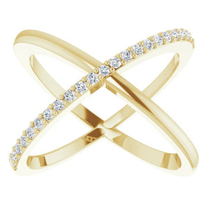 14K Yellow 1/4 CTW Diamond Criss-Cross Ring