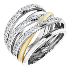 14K White/Yellow 1/2 CTW Diamond Ring