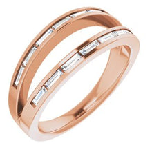 Load image into Gallery viewer, 14k Rose  gold 1/3 CTW Negative Space  Diamond Ring
