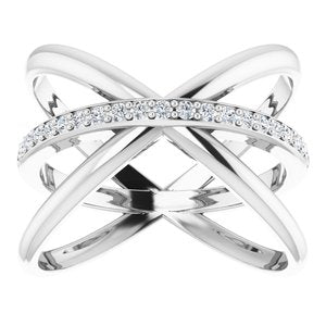 14K Rose 1/6 CTW Diamond Criss-Cross Ring