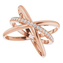 Load image into Gallery viewer, 14K Rose 1/6 CTW Diamond Criss-Cross Ring
