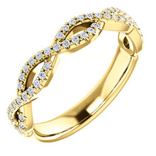 Load image into Gallery viewer, 14K Gold & 1/5 ct Diamond Infinity Band Wedding Anniversary Stackable Ring
