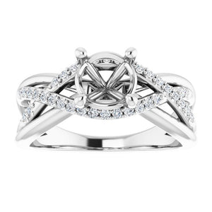 1 CARAT MOUNTING : Over Lapping Diamond Engagement Ring