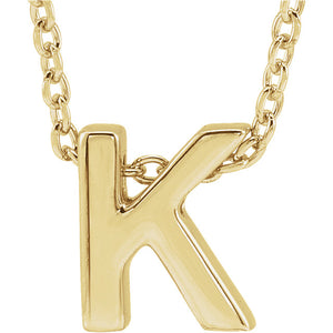 14k Yellow Gold Initial Charm Slide with chain