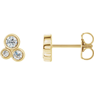 14K Yellow 1/5 CTW Diamond Geometric Cluster Earrings