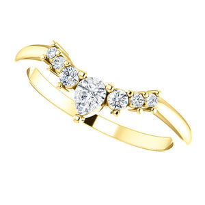 14K Gold 1/4 CTW Diamond Contoured Band
