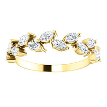 Load image into Gallery viewer, 14K Gold 5/8 CTW Crown Leaf Diamond Anniversary Band or Stackable Ring