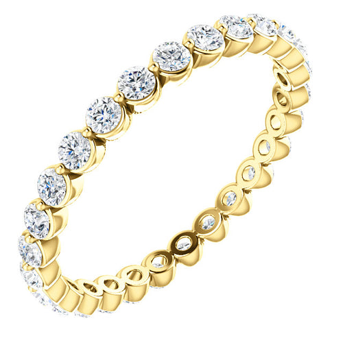 14K Gold 2 mm Diamond Shared Prong Eternity Band