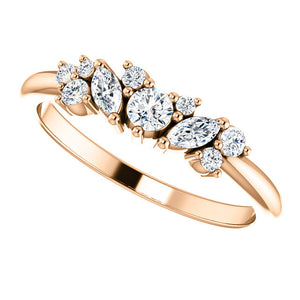 14k Diamond Cluster Diamond Band with 1/3 carat