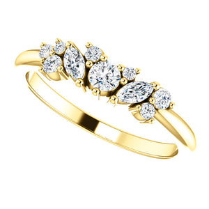 14k Gold Diamond Cluster Diamond Band with 1/3 carat