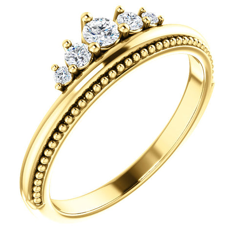 14K Gold 1/5 CTW Diamond Stackable Band Crown Ring