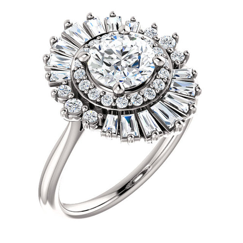 1 Carat Round Diamond Center Engagement Ring with Moroccan Diamond Halo