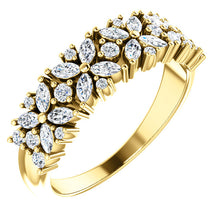 Load image into Gallery viewer, 14k Gold 3/4 Floral Diamond Anniversary Band