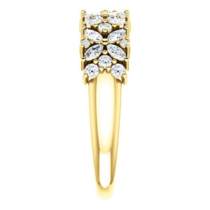 14k Gold 3/4 Floral Diamond Anniversary Band