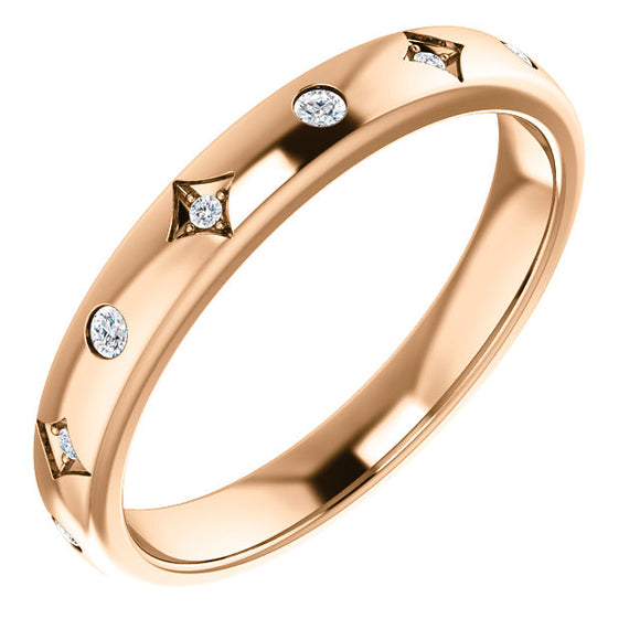 14k Gold Vintage Inspired 1/10 Diamond Band
