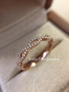 14K Gold & 1/5 ct Diamond Infinity Band Wedding Anniversary Stackable Ring