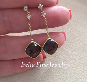 Stunning 14K Yellow Gold Checkerboard Cut Smoky Quartz & .05ct Diamond Earrings