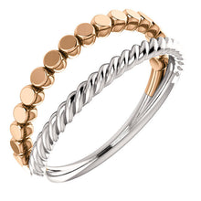 Load image into Gallery viewer, 14K Gold Flat Bead and Rope Design Stackable Ring