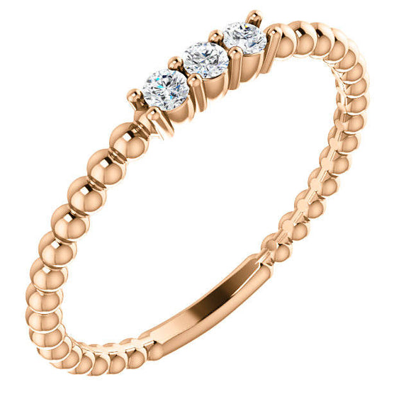14K Gold 1/10 CTW 3 Diamond Beaded Ring