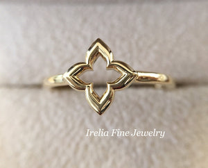 Dainty 14K Yellow Gold Clover Stackable Ring