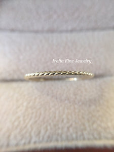 14K Gold 1mm Decorative Rope Band