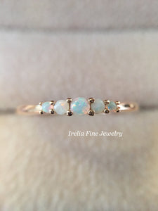14k Rose Gold 5 Stone Natural Australian Opal Ring Graduated Stackable Ring October Birthstone