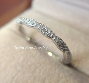 14K Gold & 1/6 ct Diamond Rope Band Wedding Anniversary Stackable Ring