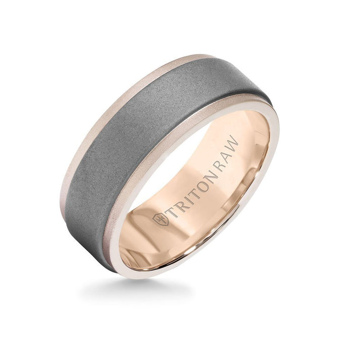 TRITON Tungsten 8mm Raw and 18K Gold Ring