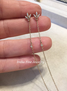 14K Rose Gold .08 CTW Diamond Chain Earrings