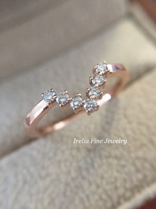 14K Rose Gold V Contour Wedding Band