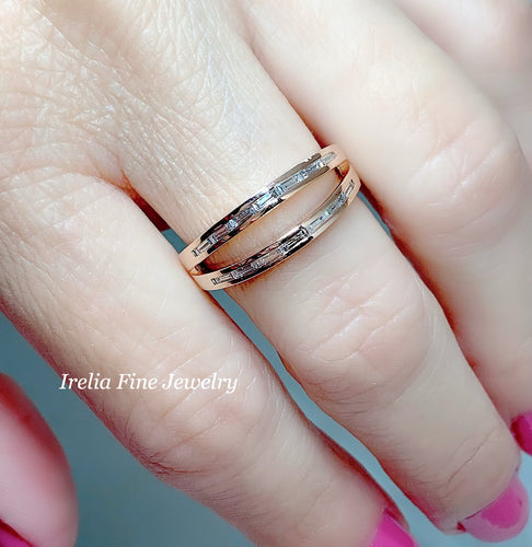 14k Rose  gold 1/3 CTW Negative Space  Diamond Ring