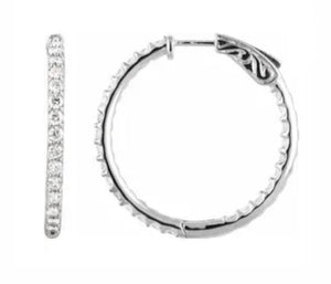 14K White Gold 2 ct Diamond Hoop Earring