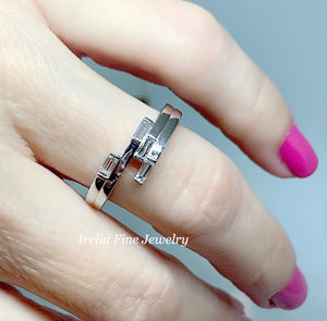 14k White gold 1/4 CTW Geometric Diamond Ring