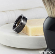 Load image into Gallery viewer, Triton Tungsten 8mm Black & Rose Asymmetrical