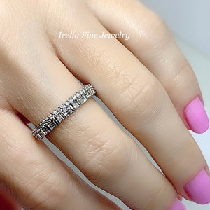 14K White 1/2 CTW Diamond Double Stacked Band