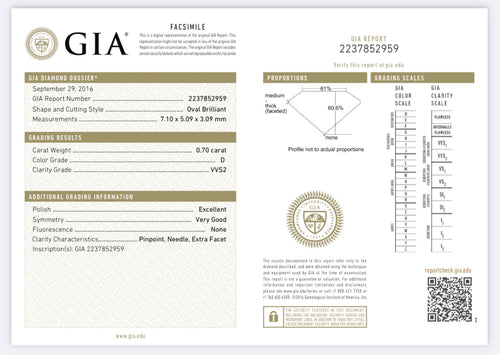 .70 Carat Oval Cut Diamond D , VVS2 , GIA Certified