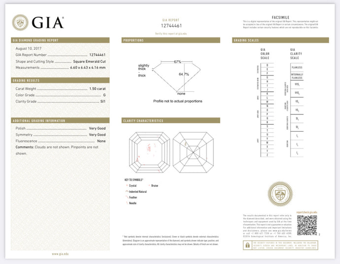 1.50 Carat Asscher Cut Diamond G , S1 , GIA Certified